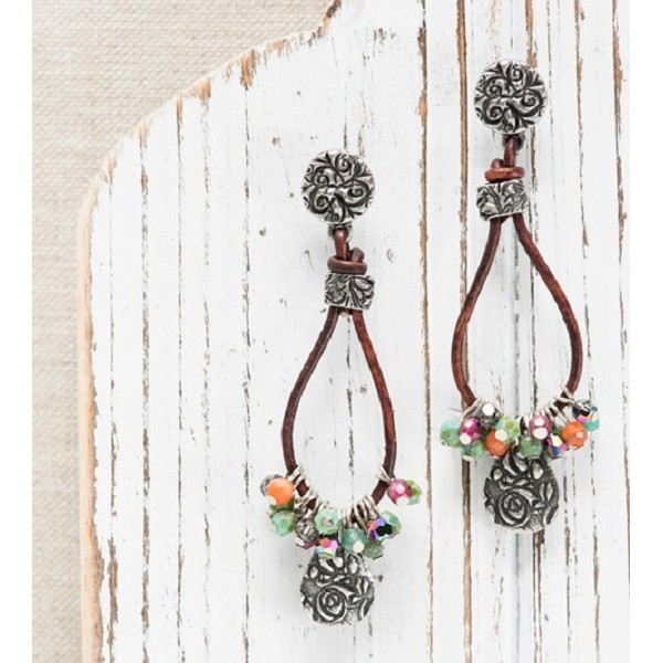 TierraCast Jardin Post Earring 8mm Antique Pewter (1-Pc)