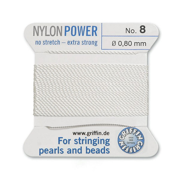 #8 White Griffin Nylon Bead Cord (2 Meters)