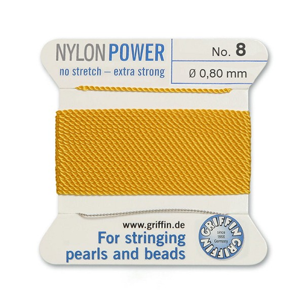 #8 Amber Griffin Nylon Bead Cord (2 Meters)