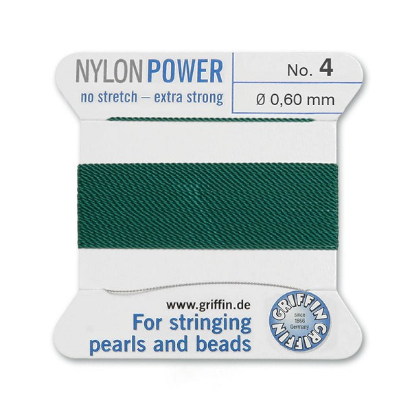 #4 Green Griffin Nylon Bead Cord (2 Meters)