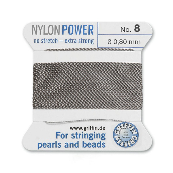 #8 Grey Griffin Nylon Bead Cord (2 Meters)