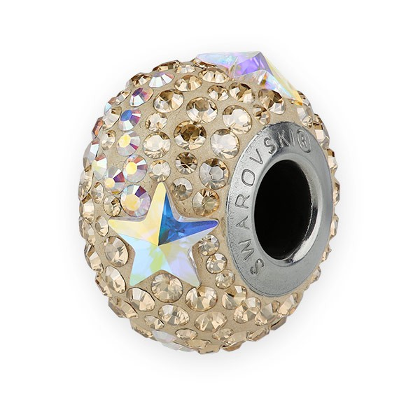 Swarovski BeCharmed Pave Shooting Star Bead 14mm Crystal Golden Shadow, Crystal AB (1-Pc)
