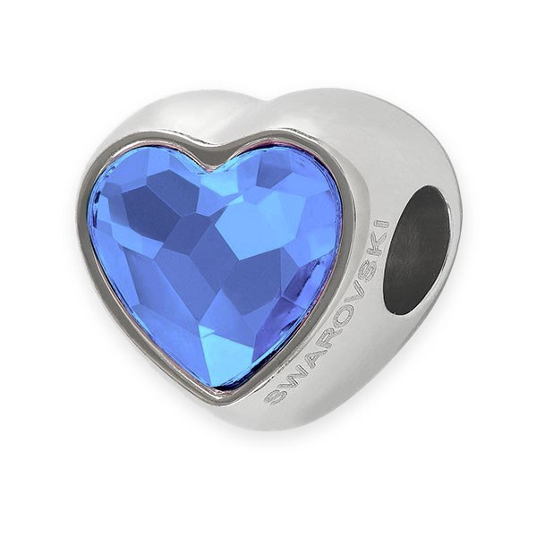 Swarovski Crystal BeCharmed 82081 14mm Denim Blue Heart Bead (1-Pc)