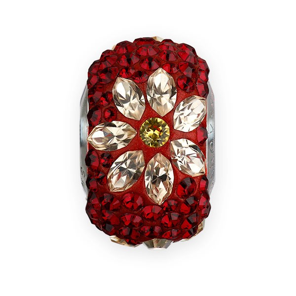 Swarovski Crystal BeCharmed Pave Poinsettia Bead 14mm Siam, Light Silk Light Topaz (1-Pc)