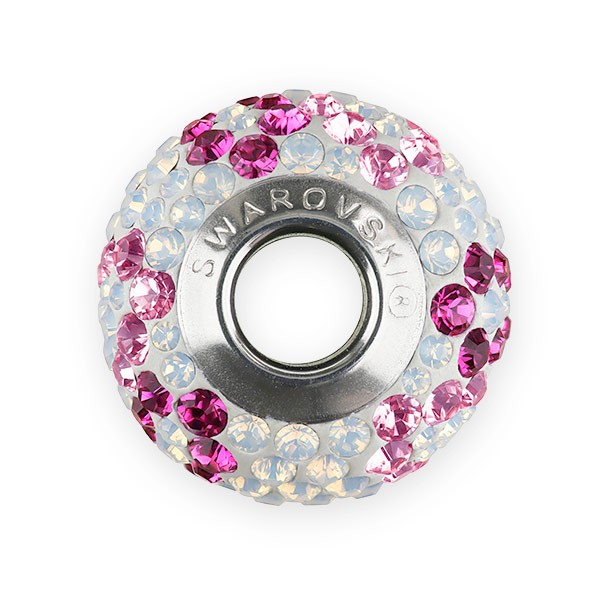 Swarovski Crystal BeCharmed Pave Pink Ribbon Bead 14mm Light Rose, Fuchsia, White Opal (1-Pc)