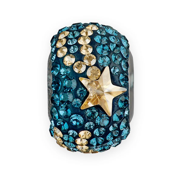 Swarovski BeCharmed Pave Shooting Star Bead 14mm Montana Blue, Crystal Golden Shadow (1-Pc)
