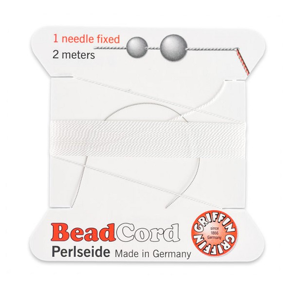 #1 White Griffin Silk Bead Cord (2 Meters)