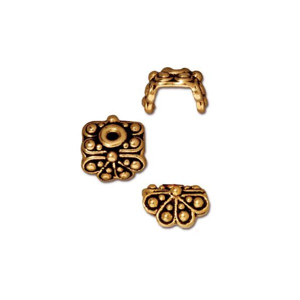 TierraCast Bead Cap - Raja 9x9mm Pewter Antique Gold Plated (1-Pc)