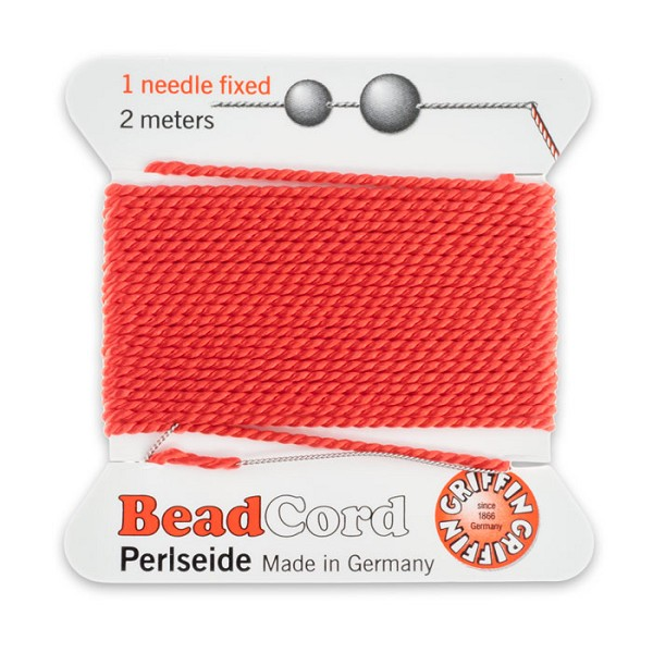 #12 Coral Griffin Silk Bead Cord (2 Meters)