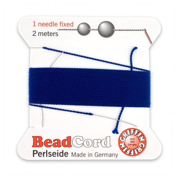 #4 Dark Blue Griffin Silk Bead Cord (2 Meters)