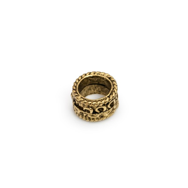 8mm Gold Plated Large Hole Pewter Spacer Bead Large Hole Spacer (1-Pc)