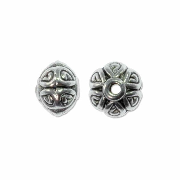 Decorative Cushion Bead 5x7mm Pewter Antique Silver Plated (1-Pc)