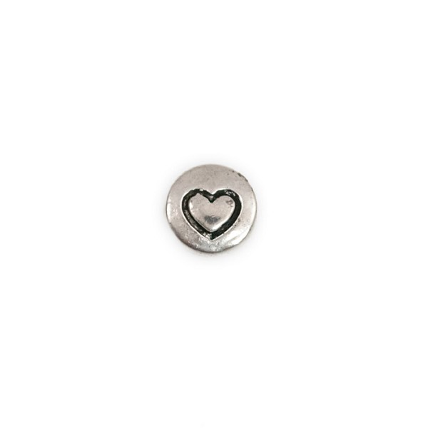 Heart Embossed Antique Silver Pewter Coin Bead 10mm  (1-Pc)