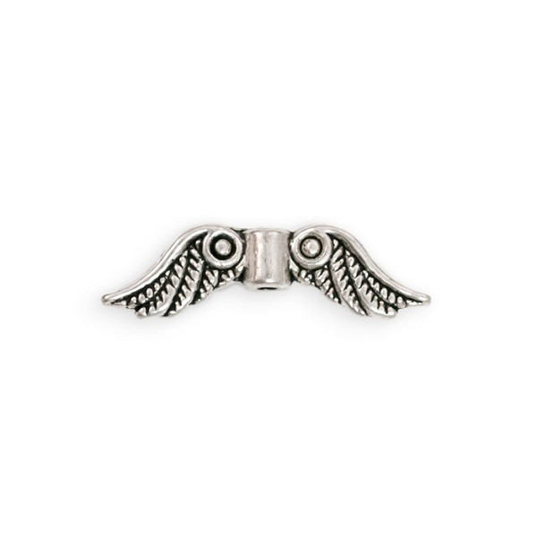 Angel Wings Bead 24x4mm Pewter Antique Silver Plated (1-Pc)