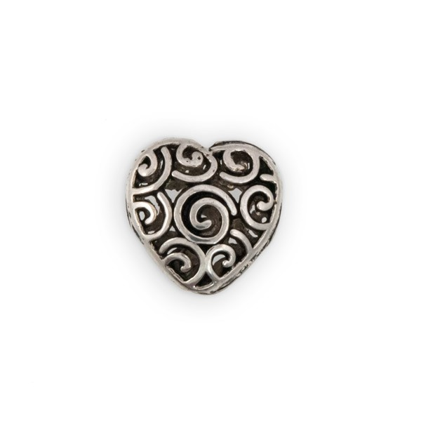 15mm Pewter Swirl Heart Bead (1-Pc)