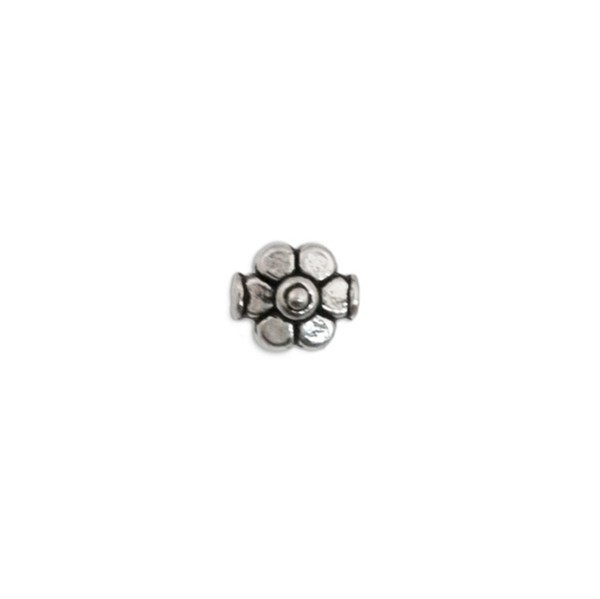 9mm Pewter Daisy Flower Bead  (2-Pcs)