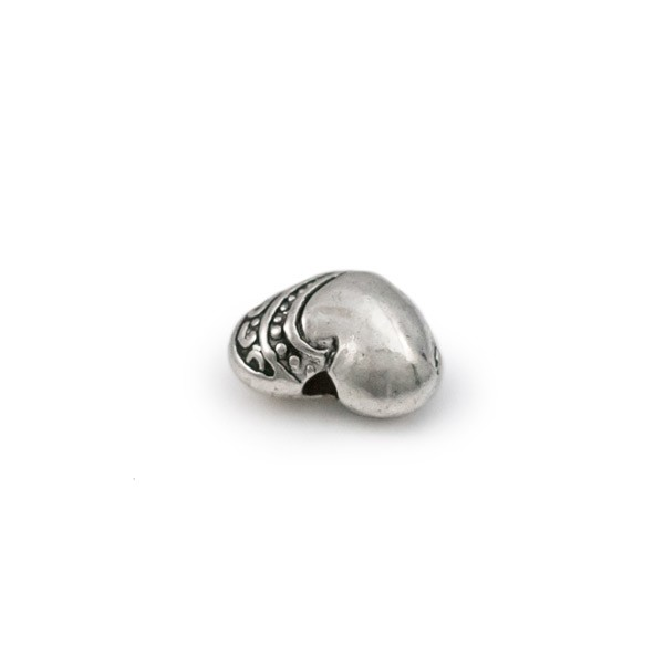 7x9mm Pewter Puffy Heart Bead (1-Pc)