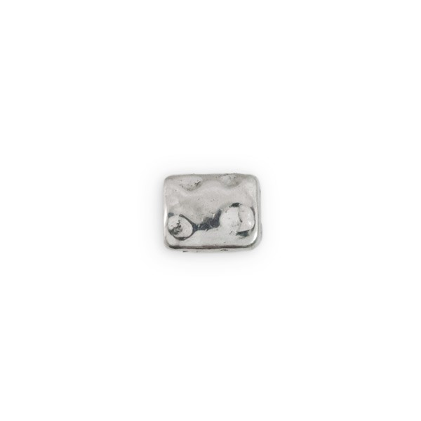 10x8mm  Pewter Distressed Rectangle Bead (1-Pc)