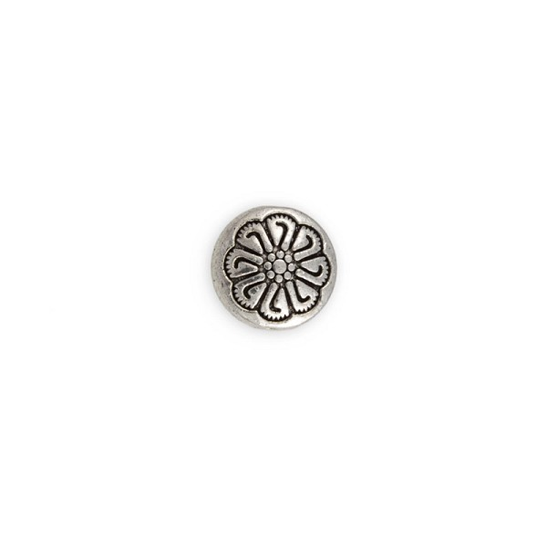 12x5mm Pewter Flower Coin Bead (1-Pc)