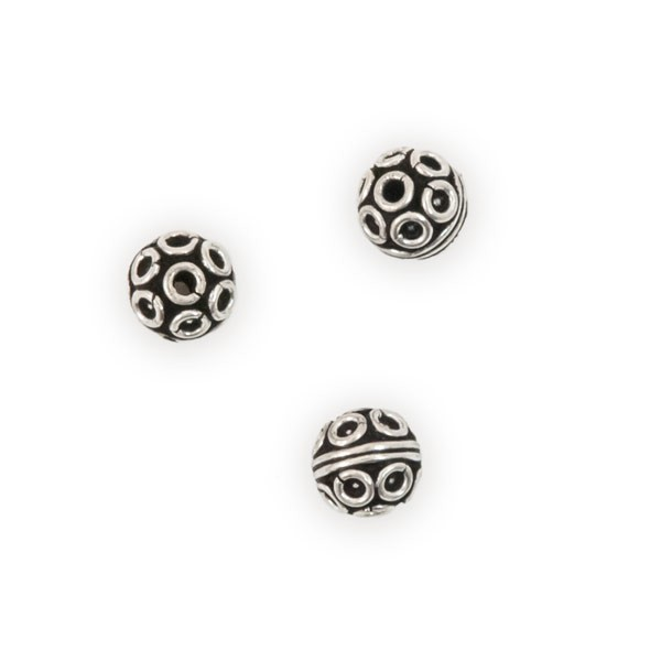 Bali Style Round Bead 7.5mm Sterling Silver (1-Pc)