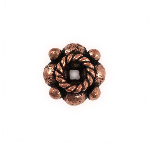 8x5mm Stacked Flower Copper Bead with Rope Edge (1-Pc)