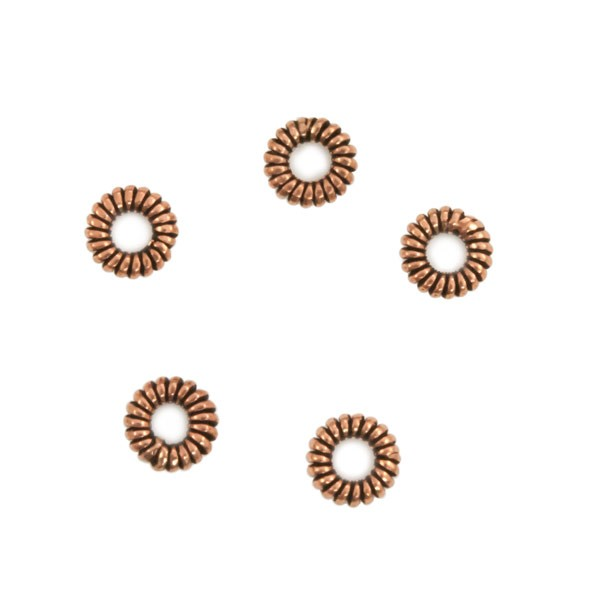 Copper Coil Spacer Bead 7x2mm (5-Pcs)