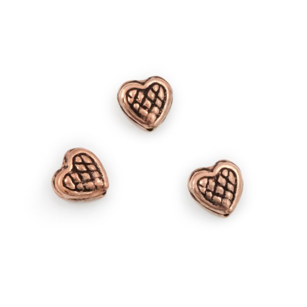Crosshatched Heart Bead 8x8mm Copper (1-Pc)