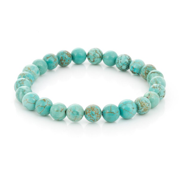 Turquoise Howlite  Bead 7-½ Inch Stretch Bracelet (1-Pc)