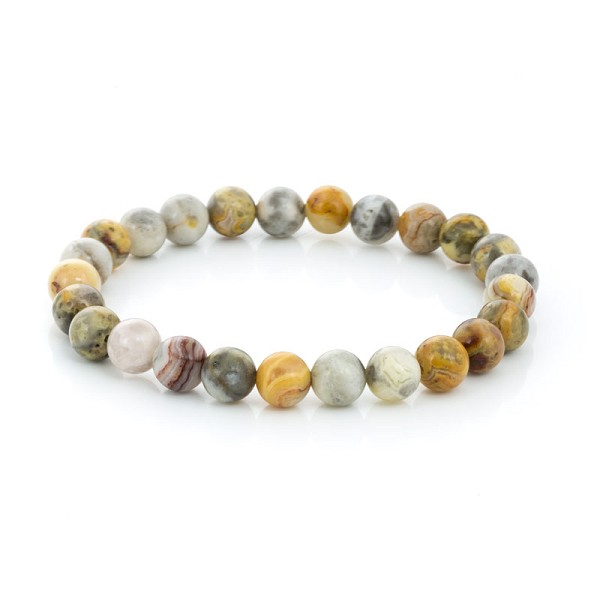 Crazy Lace Agate Bead 7-½ Inch Stretch Bracelet (1-Pc)
