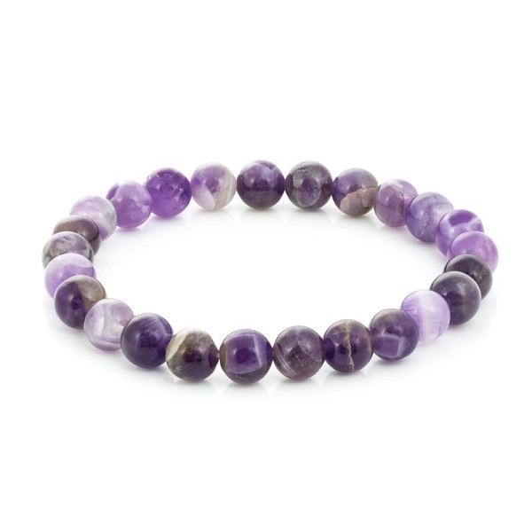 Dogtooth Amethyst Bead 7-½ Inch Stretch Bracelet (1-Pc)