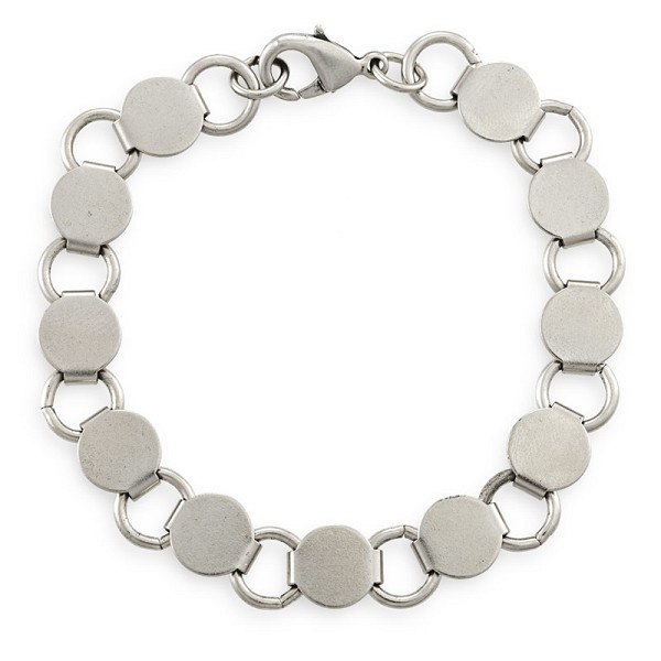 7-1/2 Inch Antique Silver Finish Steel Pad Bracelet  (1-Pc)