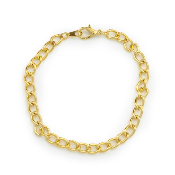 "Curb Chain Charm Bracelet 7-1/4"" Gold Plated (1-Pc)"