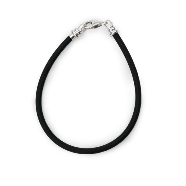 "Caprice Large Hole Bead Bracelet Rubber 7"" Black 3mm (1-Pc)"