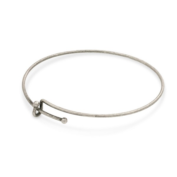 "Bangle Charm Bracelet 7-8"" Antique Silver Plated"