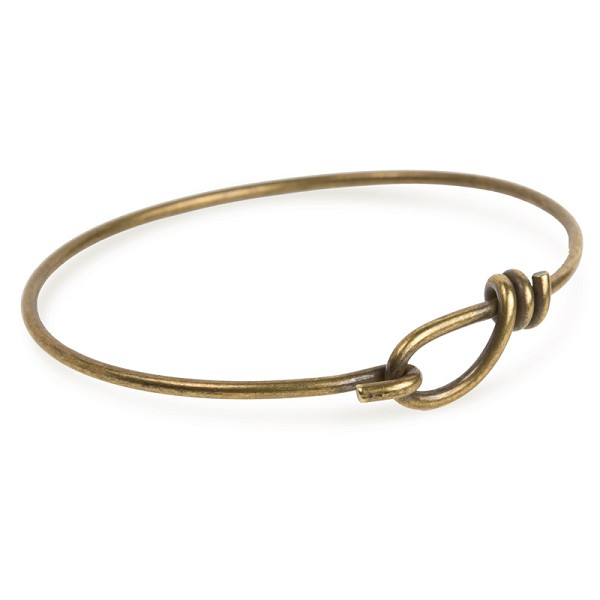 "TierraCast 7-1/2"" Antique Brass Plated Bangle Charm Bracelet"