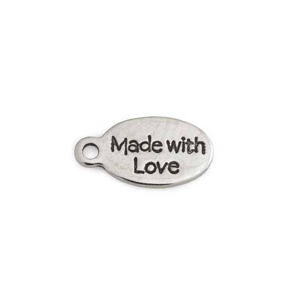 Made with Love Tag 6x11mm Pewter Antique Rhodium Plated (5-Pcs)