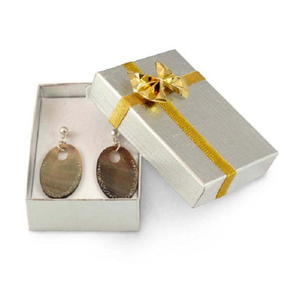 Silver Large Earring Box With Gold Bow (Dozen)