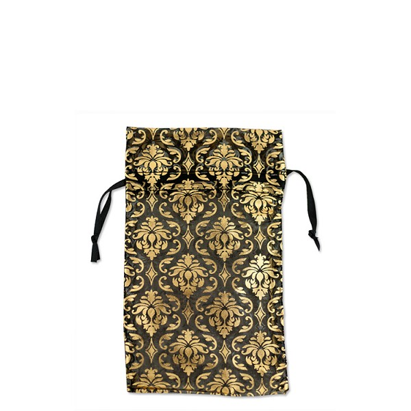 Organza Bag Small Black With Gold Damask Pattern