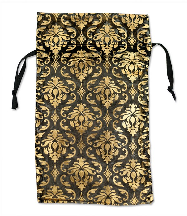 Organza Bags Large Black with Gold Damask Pattern (12-Pcs)