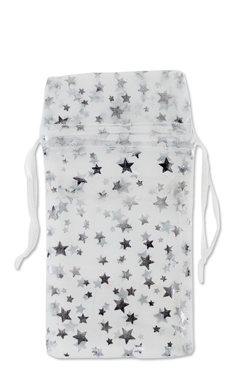 Medium Organza White Pouch with Silver Stars (12-Pcs)