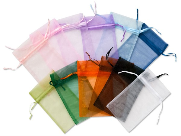 Organza Pouch Medium Multi-Color Mix (12-Pcs)