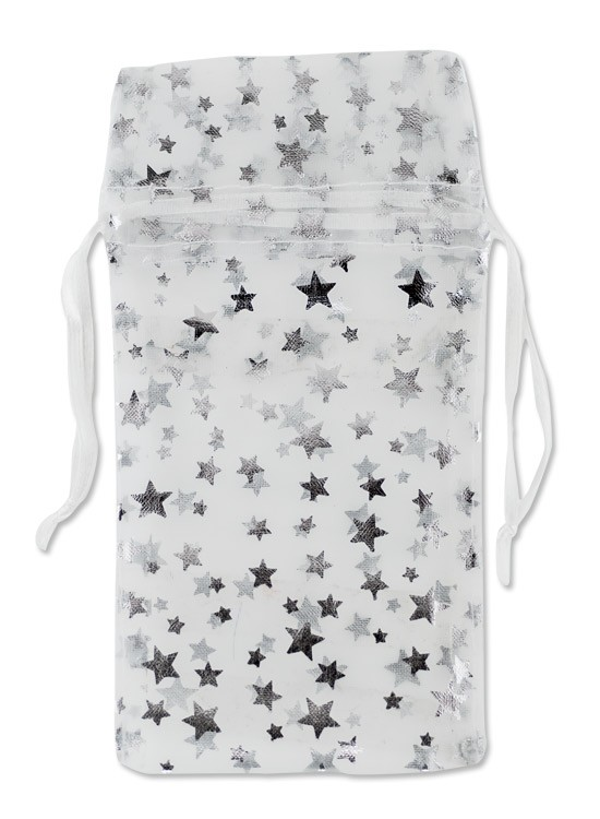 Large Organza White Pouch with Silver Stars (12-Pcs)