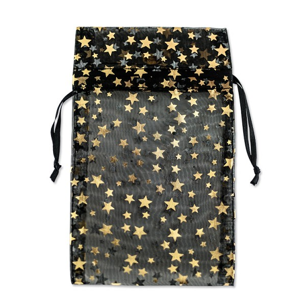 Large Organza Black Pouch with Gold Stars (12-Pcs)
