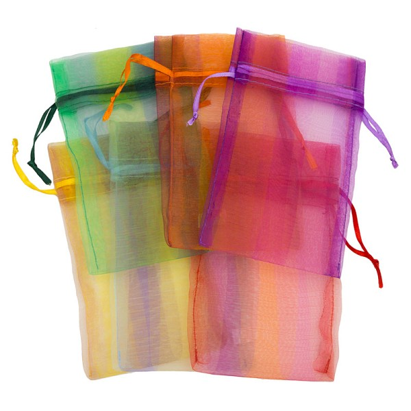 Organza Pouch Large Stripes Mix (12-Pcs)