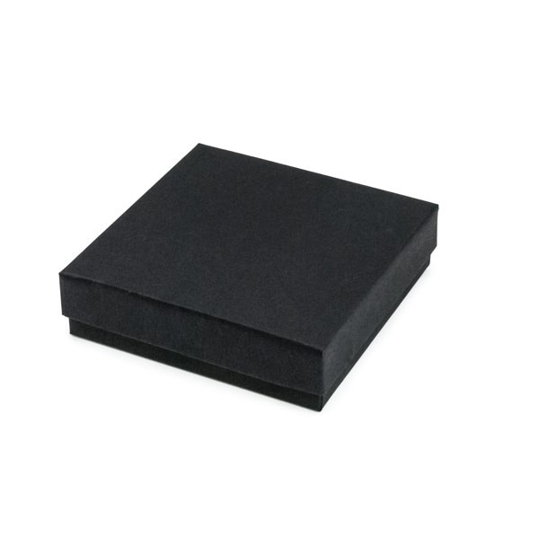 Matte Black Cotton Filled Jewelry Box #B33
