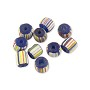 Ghana Glass Chevron Bead 5-6mm Blue/White/Red/Yellow (10-Pcs)