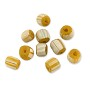 Ghana Glass Chevron Bead 5-6mm Yellow Ochre/White (10-Pcs)