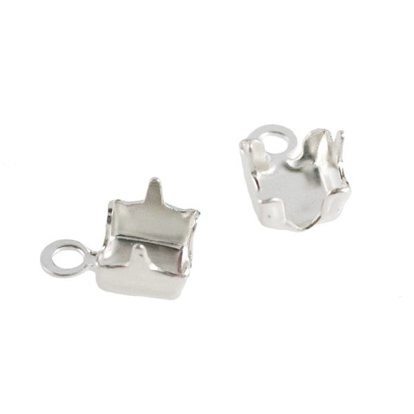Cup Chain End Connector 3mm Silver Plated (2-Pcs)