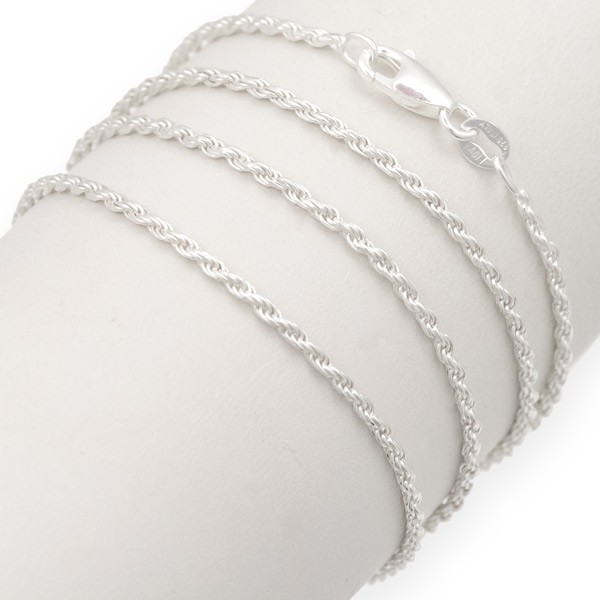 "Rope Chain Diamond Cut 1.5mm 20"" Sterling Silver (1-Pc)"
