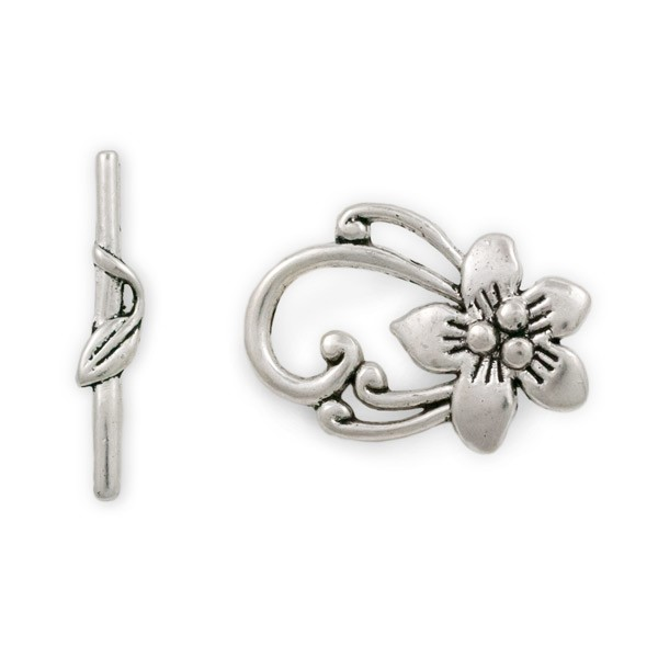 Pewter Toggle Clasp with Blossom 30x20mm (1-Pc)